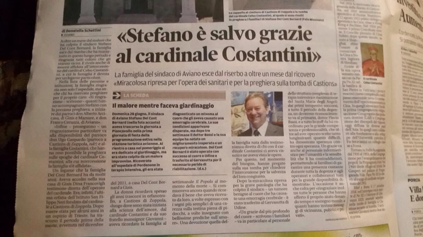 La preghiera al Cardinale Costantini ha aiutato il Sindaco di Aviano