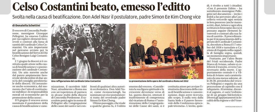 Continua la fase di beatificazione del porporato